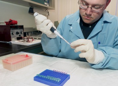 A forensic scientist prepares a DNA sample for testing (File photo)