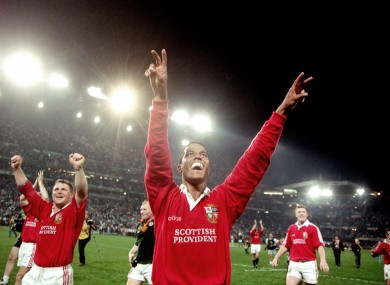 Jeremy Guscott celebrates the Lions series win in 1997.