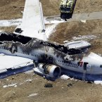 The wreckage of the Asiana Flight 214 airplane after it crashed at the San Francisco International Airport (AP Photo/Marcio Jose Sanchez).