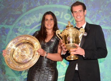 Andy Murray and France's Marion Bartoli during the Champions Ball at the Intercontinental Hotel, London last night.