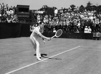 Fred Perry pictured during an exhibition match in Los Angeles in 1936.