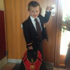 Edward Linehan heading ou the door to his first day of school in  CBC Cork.