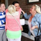 Rebecca Colliton from Ringsend College gets a hug from her mother Deborah (left) and Granmother Frances. Photo: Laura Hutton/Photocall Ireland