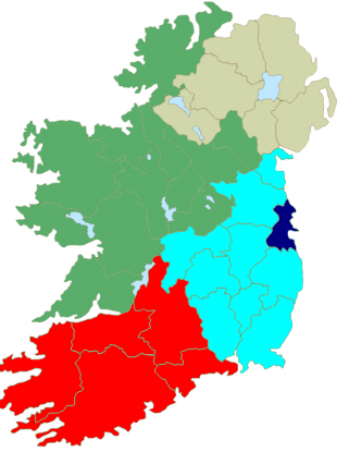 The current setup of Ireland's European constituencies