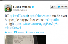 Bubba Watson bought chipotle for over 60 people last night