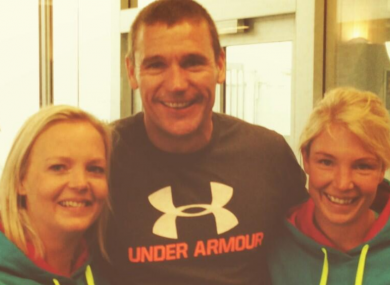 Dom Harvey, centre, pictured with two female contestants of the tough Mudder event earlier this year.