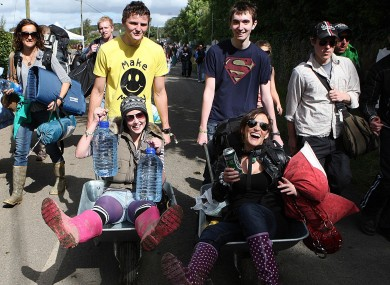 Festival goers arriving at Electric Picnic in 2009.