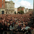 Crowds flock to Omagh for the rememberance service a week later. (Pic: Photocall Ireland)