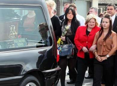 Shannon Graham at the funeral of her mother Marion Graham in Newry, Co Down on August 26, 2011.