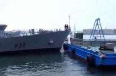 Watch as an Irish Navy ship collides with a pontoon