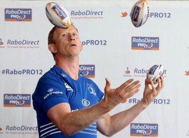 Leinster's Leo Cullen tries his hand at juggling.