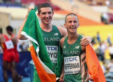 Ireland's gold medal winner Robert Heffernan alongside Brendan Boyce who finished in 25th position.