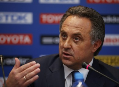Russian sports minister Vitaly Mutko speaks during a news conference.