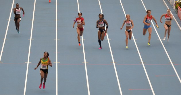 Snapshot: The women's 4x100m relay final wasn't exactly a photo finish