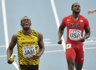 Usain Bolt is overjoyed after winning another Gold Medal.