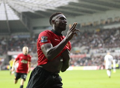 Manchester United's Danny Welbeck celebrates scoring his side's fourth goal of the game.