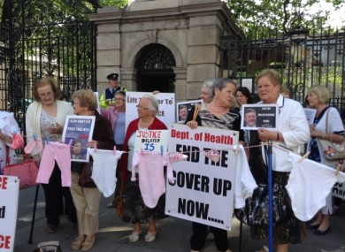 A 'Survivors of Symphysiotomy' protest outside Leinster House.