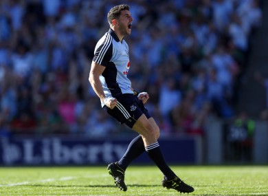 Bernard Brogan of Dublin celebrates scoring the first goal of the game.