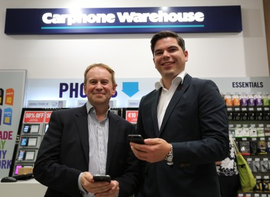 Peter Scott, MD Carphone Warehouse Ireland and Tim Hannon, General Manager Computers, Harvey Norman Trading (Ireland) Ltd at the announcement.