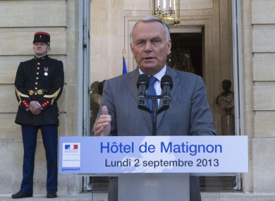 French Prime Minister Jean-Marc Ayrault speaks to the media