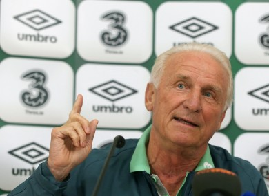 Ireland manager Giovanni Trapattoni at the press conference today.