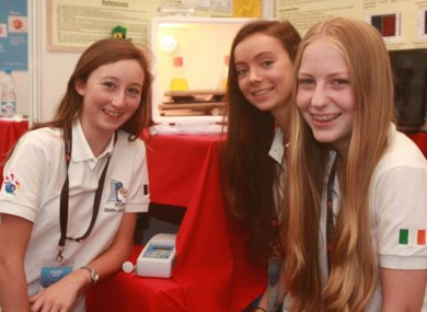 The three Kinsale Community School students at their stand explaining their research yesterday.