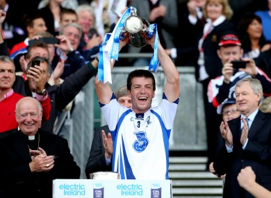 Waterford captain Kevin Daly lifts the cup.