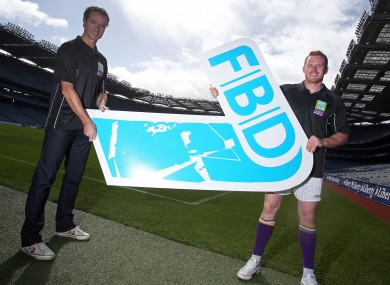 Former Mayo Footballer Kevin O'Neill with former Dublin footballer Mark Vaughan at Monday's launch in Croke Park.
