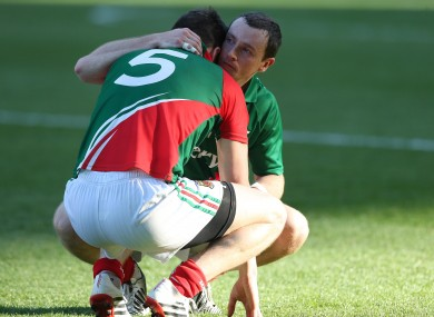Mayo's Lee Keegan is consoled by Keith Higgins after the game.