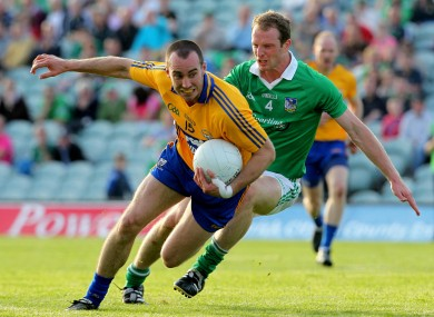 Limerick's Lorcan O'Dwyer and Rory Donnelly of Clare.