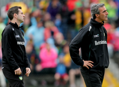 Jim McGuinness with former Donegal selector Rory Gallagher.