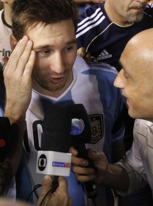 Argentina's Lionel Messi speaks to the press after a game with Paraguay this week.
