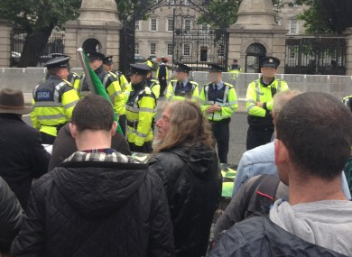 Protesters outside the Dail this morning.