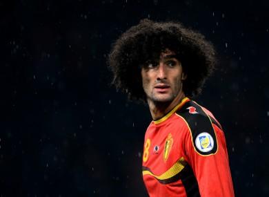 Marouane Fellaini in action for Belgium against Scotland last night.