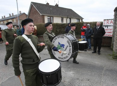 Members of the 32 County Sovereignty Movement at their Easter commemoration in Derry this year.