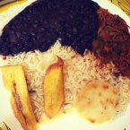 Pabellon criollo, proposed by Quora user Nana D., consists of white rice with stewed black beans, and