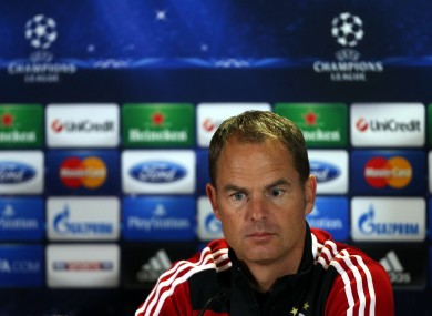 Ajax's manager Frank de Boer attends a press conference at Celtic Park.