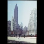 Downtown skyscrapers from East River pier (1941)<span class=