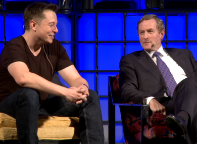 elon musk with taoiseach enda kenny at the closing panel of the web summit this evening
