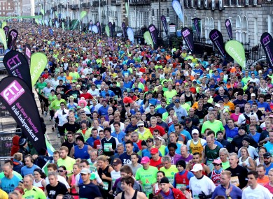 General view of Monday's Dublin City Marathon.