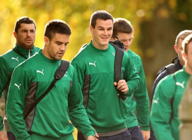 Conor Murray and Jonathan Sexton at Ireland training this week.