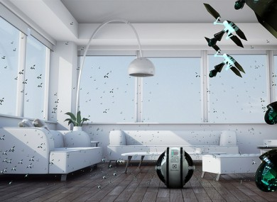 Computer-generated impression of how the mini-robot cleaners would 'attack' a room.