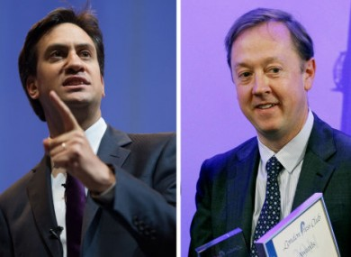 Labour leader Ed Miliband, left, and Mail on Sunday Editor Geordie Greig, right.