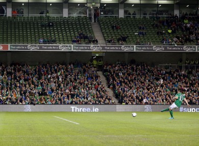 Robbie Keane scores a first-half penalty.
