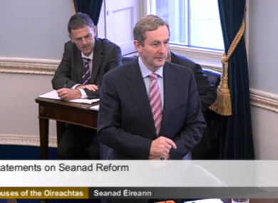 Enda Kenny in the Seanad this afternoon