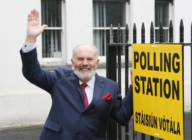 Senator David Norris is pictured outside the polling station at the Marlbourgh street