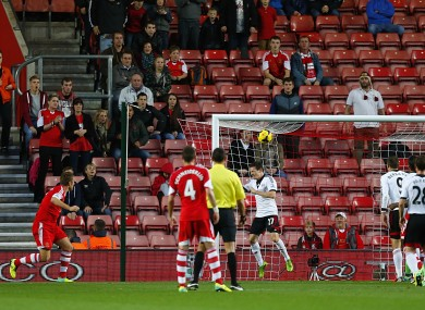Southampton's Rickie Lambert (left) scores the opening goal of the game.