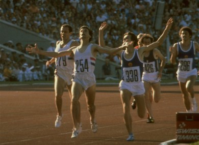Coe crosses the line to win the 1500m gold at the 1980 Olympics.