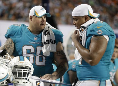 Miami Dolphins guard Richie Incognito (68) and tackle Jonathan Martin are at the centre of the NFL's high profile bullying case.