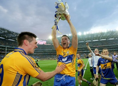 Clare's Conor Ryan and Fergal Lynch celebrate their Liam McCarthy Cup triumph.